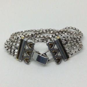 Brighton 6 Heart 7 Chain Silver Plated Bracelet